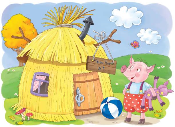 ilustraciones, imágenes clip art, dibujos animados e iconos de stock de three little pigs. fairy tale. illustration for children. coloring page. cute and funny cartoon characters - straw field