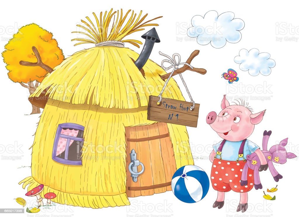 Three Little Pigs Fairy Tale Illustration For Children Coloring ...