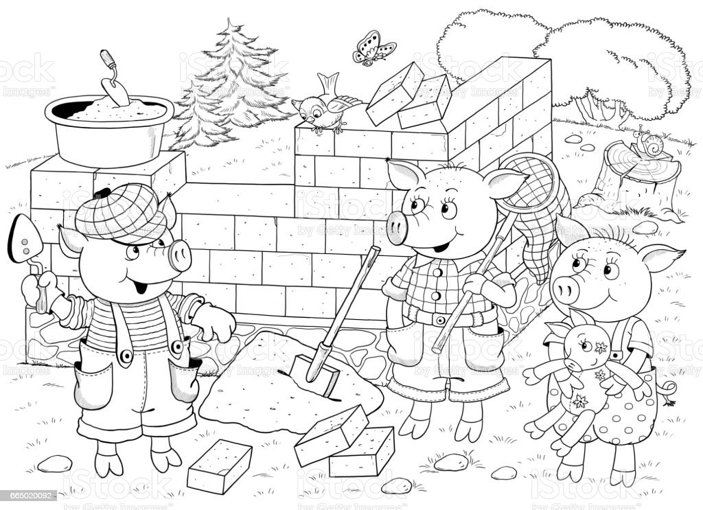 Three Little Pigs Fairy Tale Illustration For Children