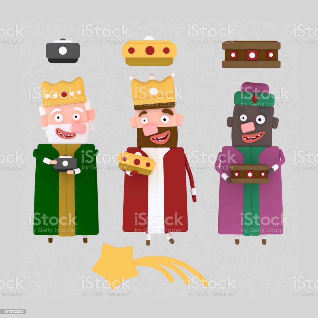 Tres separadas de Rey Mago - ilustración de arte vectorial