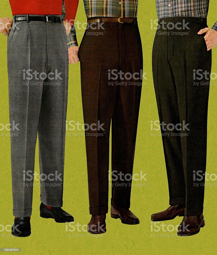 Three Men Wearing Slacks royalty-free stock vector art