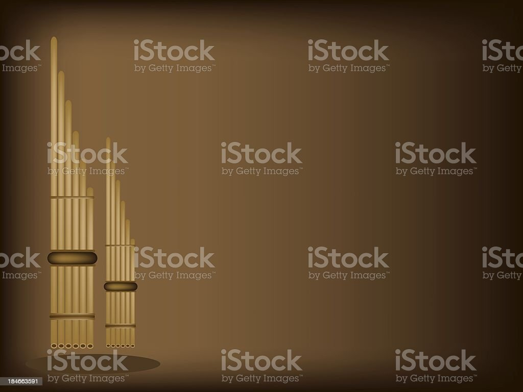 Three Musical Pan Flute on Dark Brown Background royalty-free three musical pan flute on dark brown background stock vector art & more images of artist