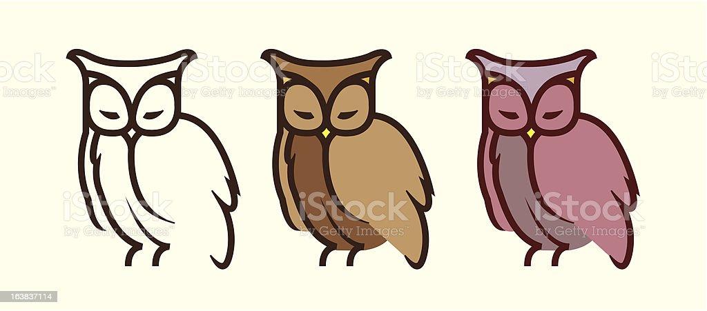 Three owls向量藝術插圖