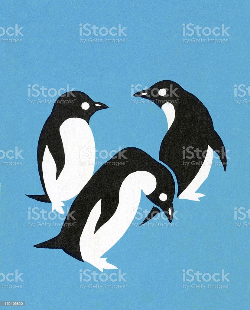 Three Penguins On Blue Background royalty-free stock vector art