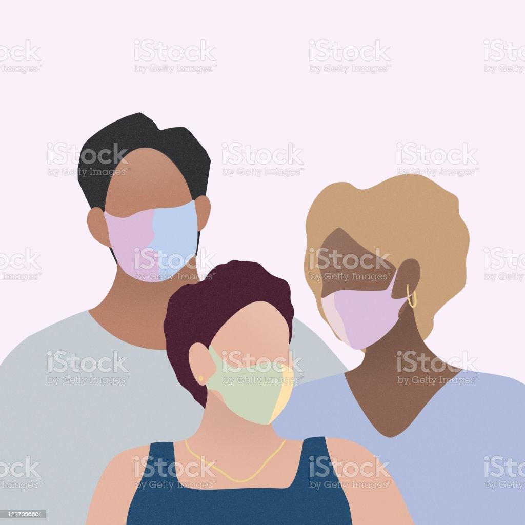 Drie Mensen die Chirurgisch Masker dragen - Royalty-free Alleen volwassenen Stockillustraties