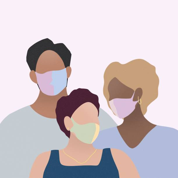 stockillustraties, clipart, cartoons en iconen met drie mensen die chirurgisch masker dragen - curly brown hair