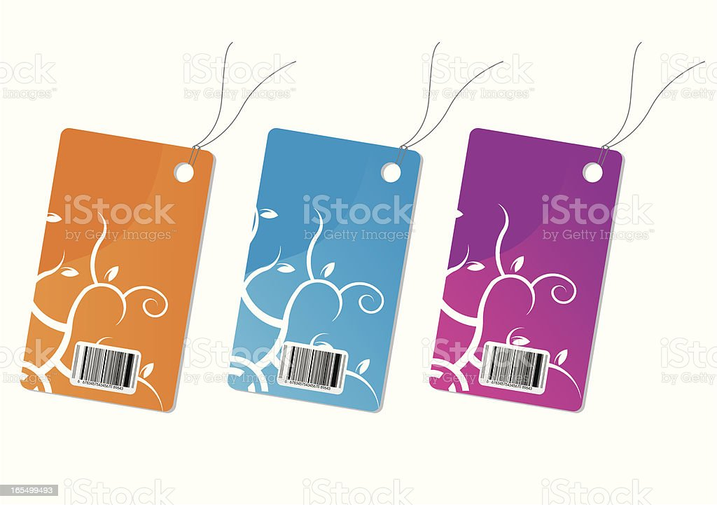 Three Pricetag with flower ornament royalty-free stock vector art