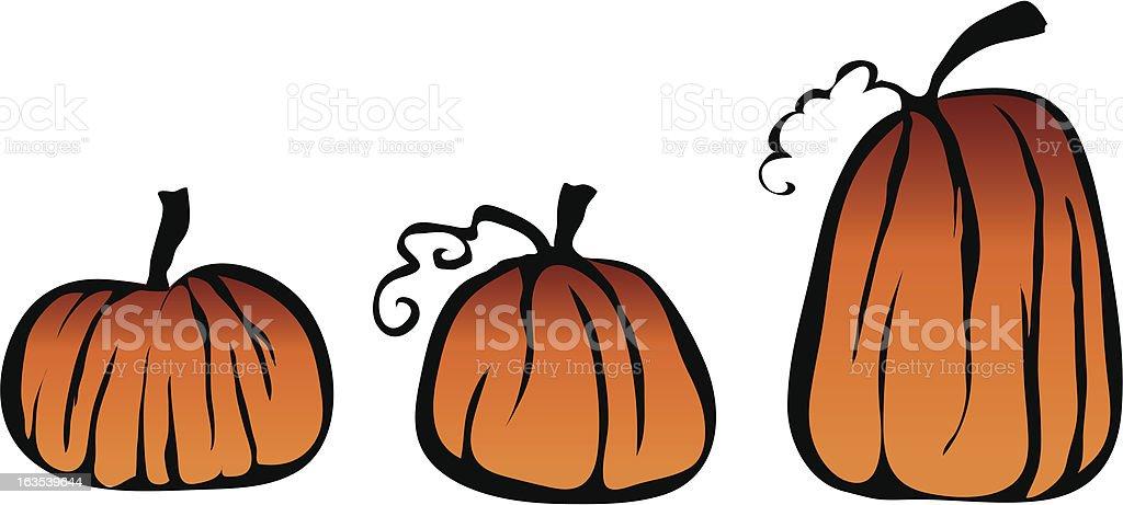three pumpkins royalty-free stock vector art
