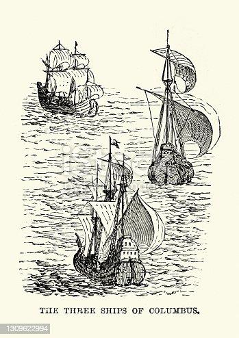 istock Three ships of Christopher Columbus, Santa María, Nina and the Pinta 1309622994