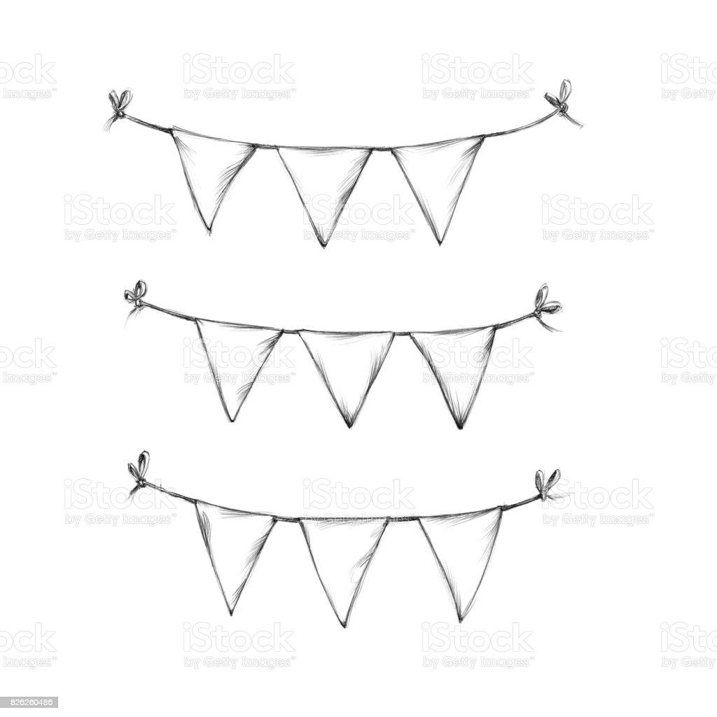 drei kurze Wimpel-Ketten – Vektorgrafik