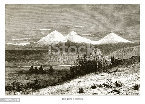Very Rare, Beautifully Illustrated Antique Engraving of Three Sisters, Cascade Range, Oregon, United States, American Victorian Engraving, 1872. Source: Original edition from my own archives. Copyright has expired on this artwork. Digitally restored.