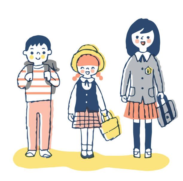 stockillustraties, clipart, cartoons en iconen met drie glimlachende kinderen - schooluniform