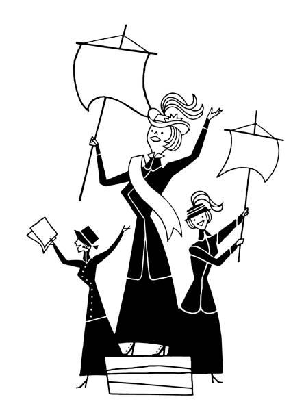 Three Suffragettes Three Suffragettes suffragist stock illustrations