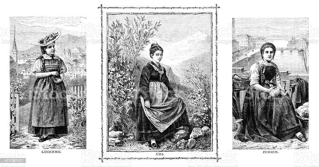 Three Swiss girls (Victorian illustrations) royalty-free stock vector art