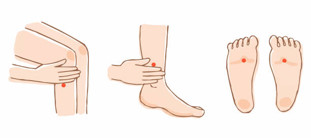 Three typical points of the foot pot Human Hand, Shiatsu, Massaging, Pointing qigong stock illustrations