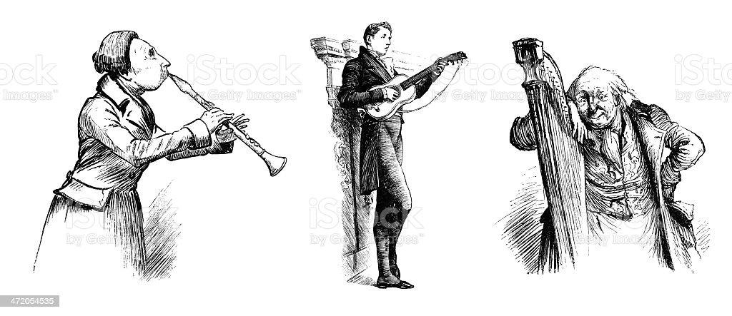 Three Victorian musicians royalty-free stock vector art