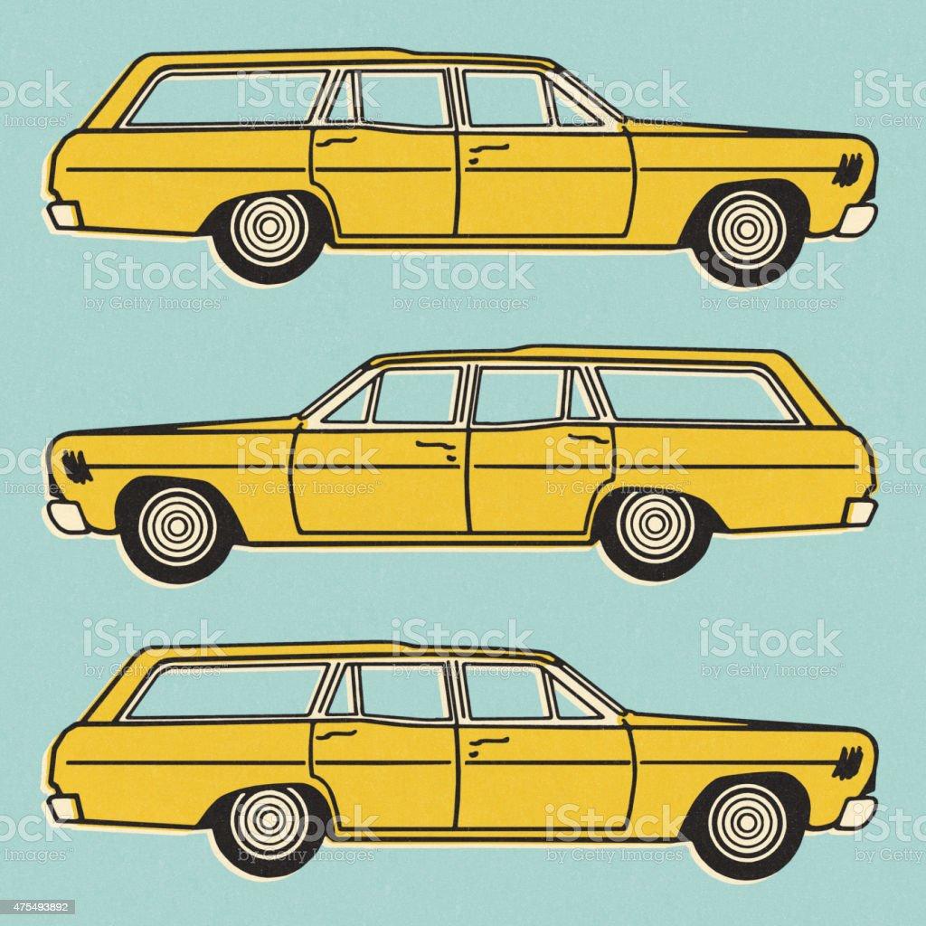 Three Views of a Yellow Station Wagon vector art illustration