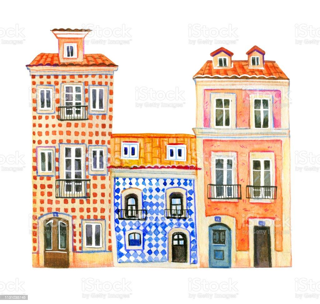 Vetores De Tres Casas De Pedra Velhas De Europa Da Aguarela Arquitetura De Portugal Ilustracao Desenhada Mao Dos Desenhos Animados E Mais Imagens De Amarelo Istock