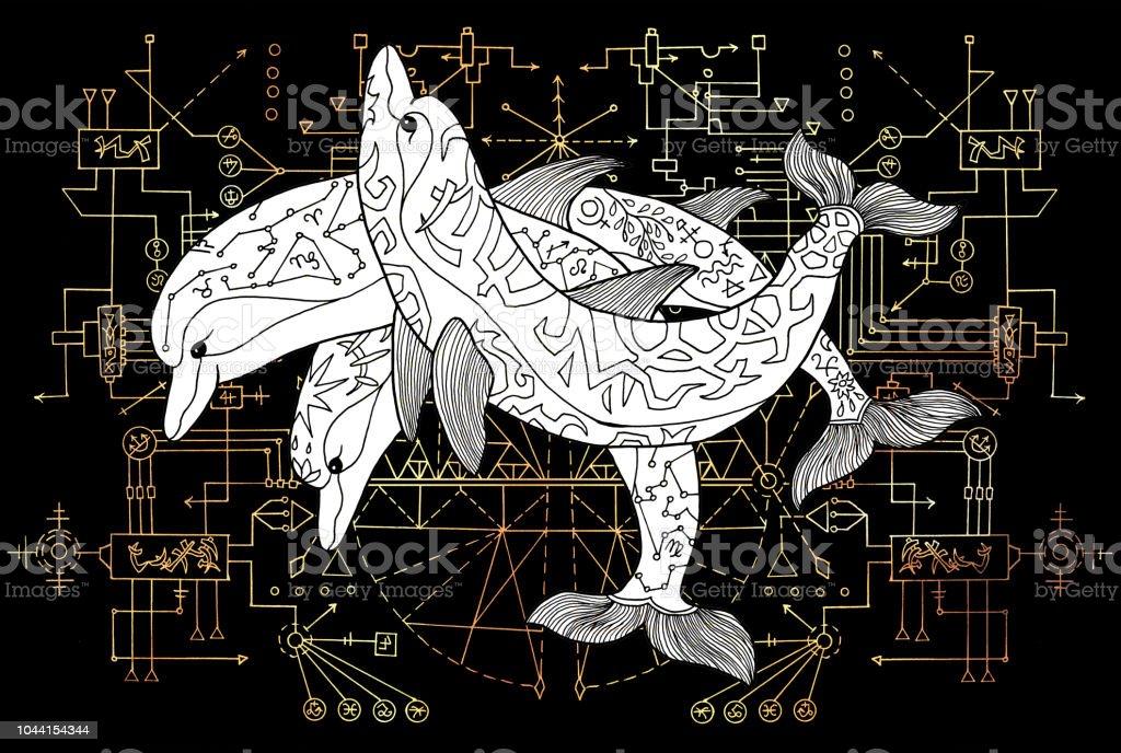 Ilustración de Tres Delfines Blancos Con Líneas Geométricas Sobre Fondo  Negro Esoterismo Ocultismo Nueva Edad Y Wicca Concepto Ilustración De  Fantasía
