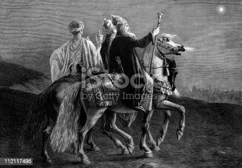 istock Three Wise Men Follow the Eastern Star at Christmas 112117495