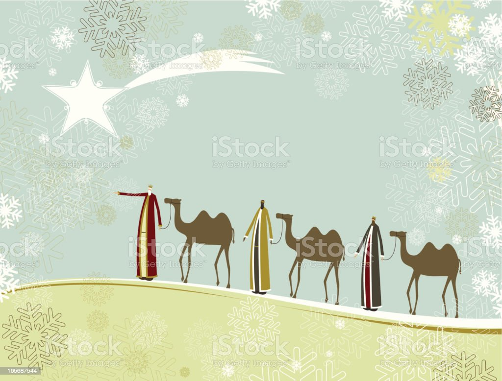 Three wise men vector art illustration