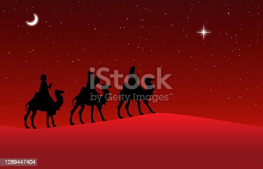 Illustration of Nativity Scene with black figurine silhouettes of Three Wise Men in the desert setting, against a red starry sky at night with moravian star.
