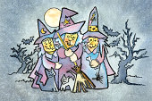 istock Three Witches in the Woods at Night 173731734