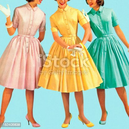 istock Three Woman Wearing Pastel Colored Dresses 152405838