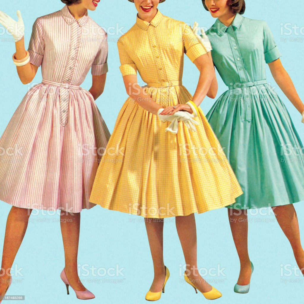 Three Woman Wearing Pastel Colored Dresses vector art illustration