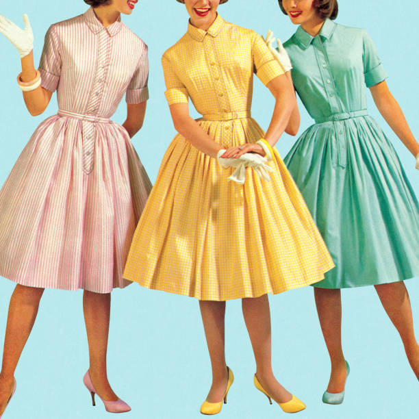 three woman wearing pastel colored dresses - vintage people stock illustrations, clip art, cartoons, & icons
