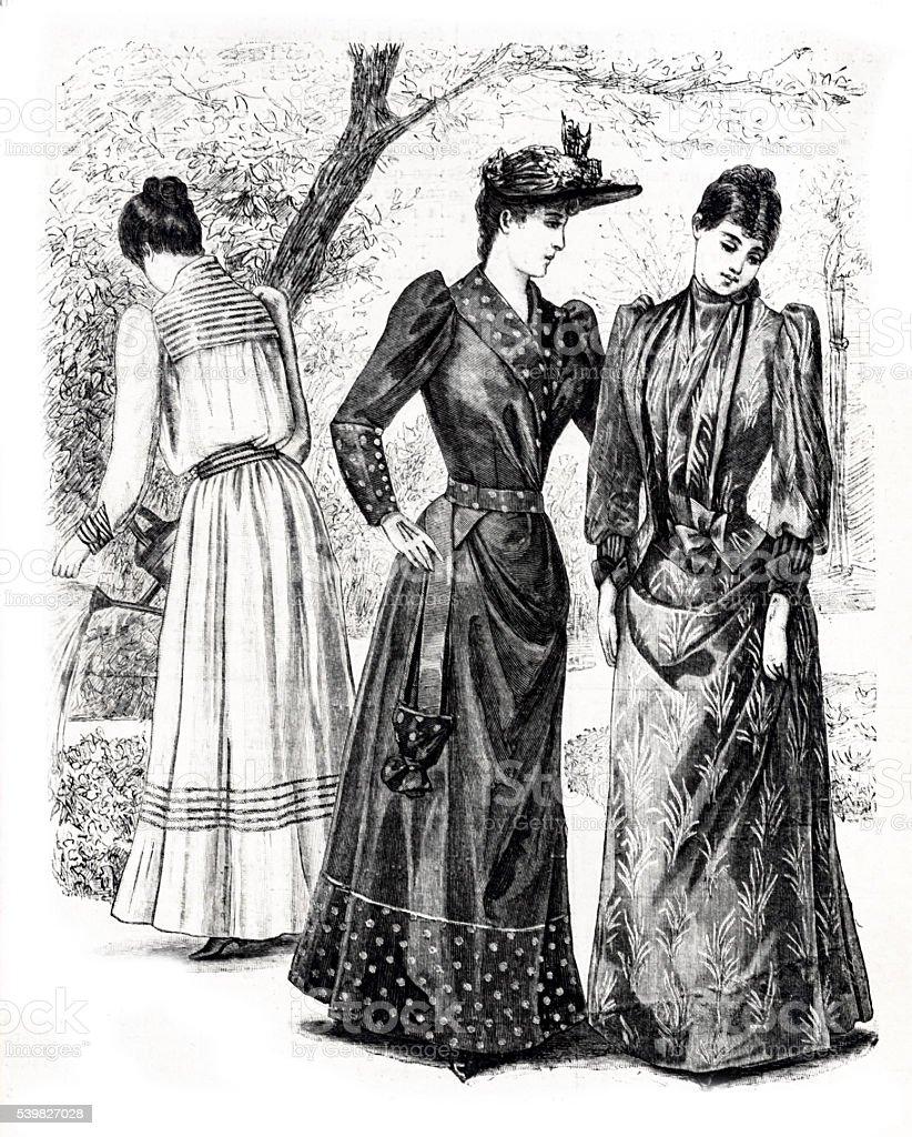 3 つの女性のガーデン 1889 年パリファッションの彫り込み - 1889年の ...