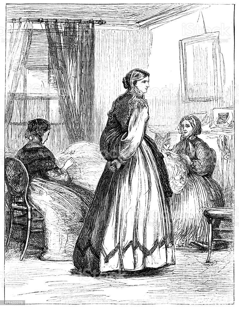 Three Women Interior Scene From 1862 Journal Stock