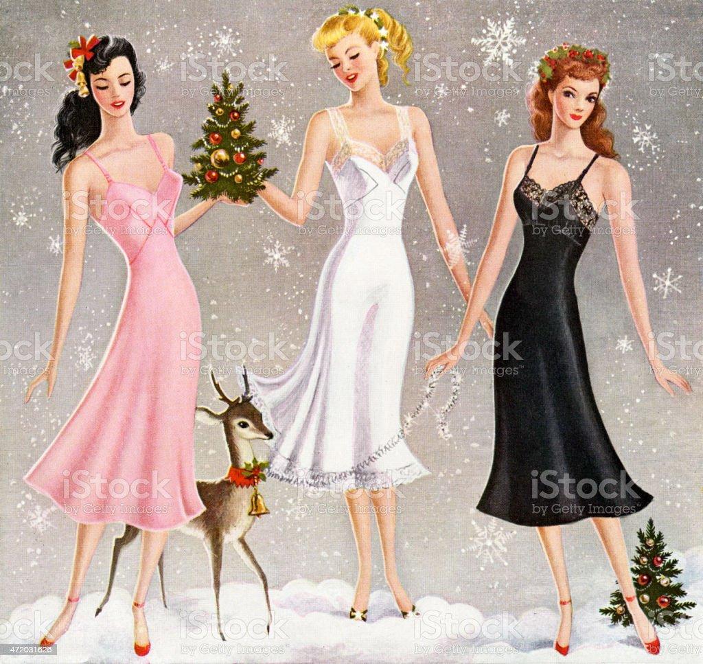 Three Women Wearing Slips vector art illustration