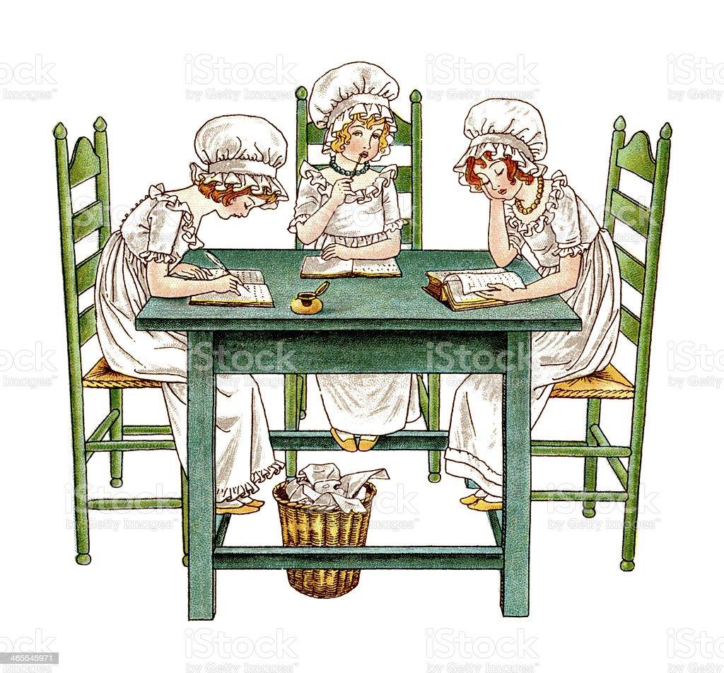 Three young Regency era girls doing schoolwork vector art illustration