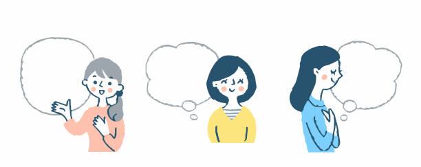 ilustrações de stock, clip art, desenhos animados e ícones de three young women and thought bubble - mão no peito