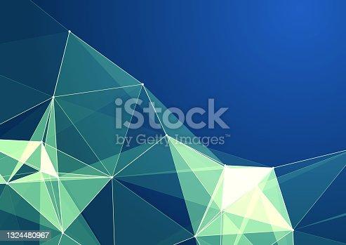 istock Three-dimensional construction of luminous triangles 1324480967