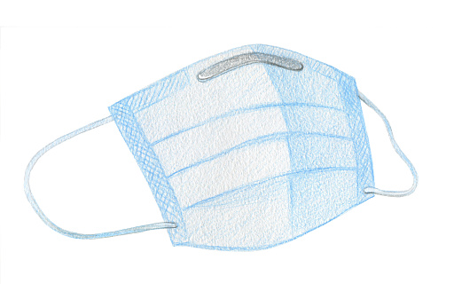 Three-layer face mask for personal use.  Surgical and procedure mask. For doctors, nurses and people. Crayon drawing isolated on a white background
