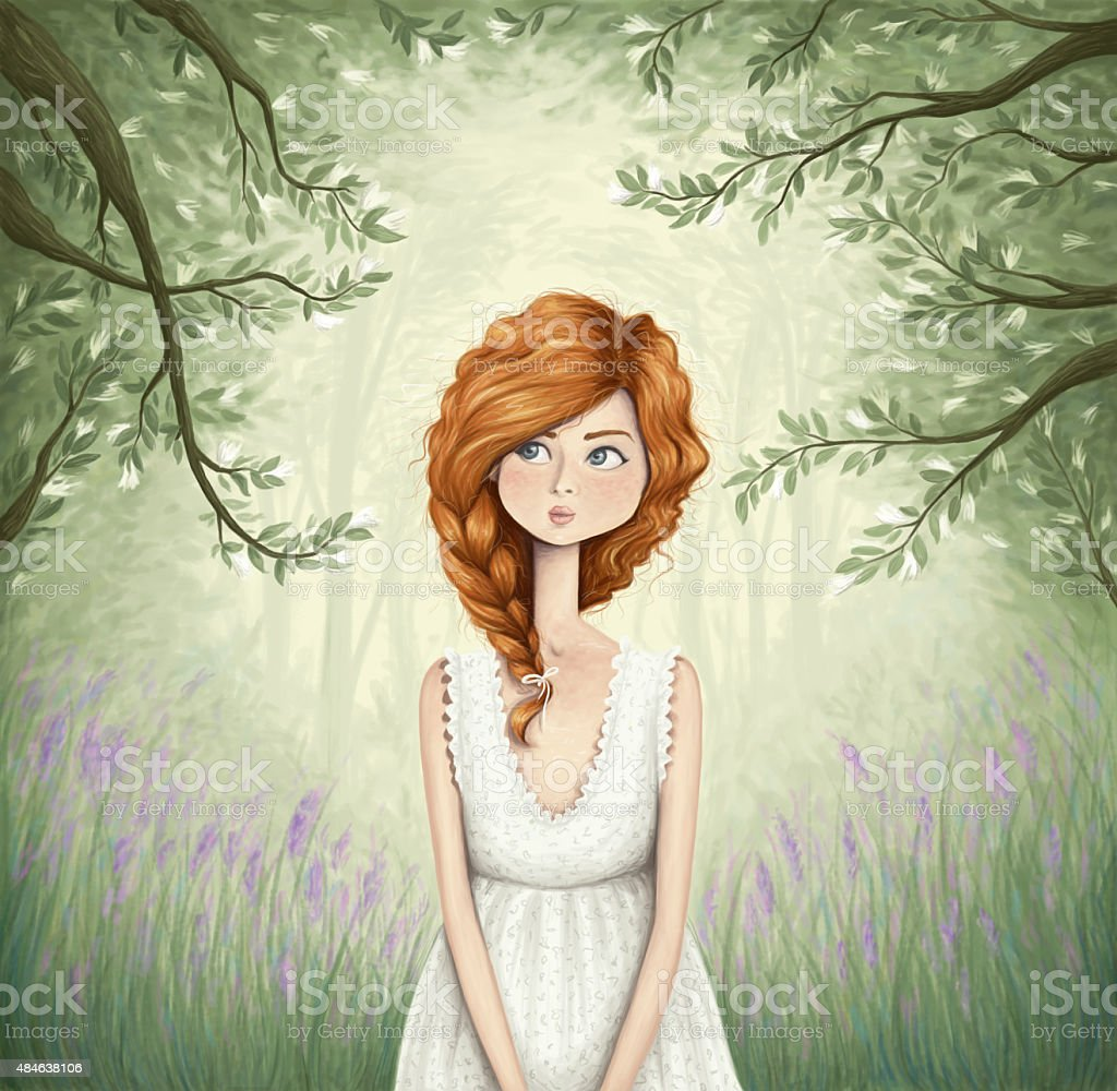 Through the forest vector art illustration