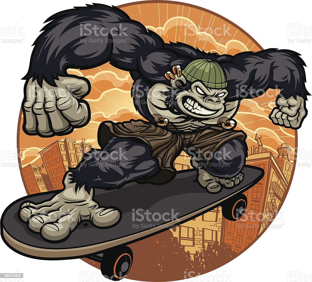 Thug Monkey Version III - Skateboard Escape royalty-free thug monkey version iii skateboard escape stock vector art & more images of aggression