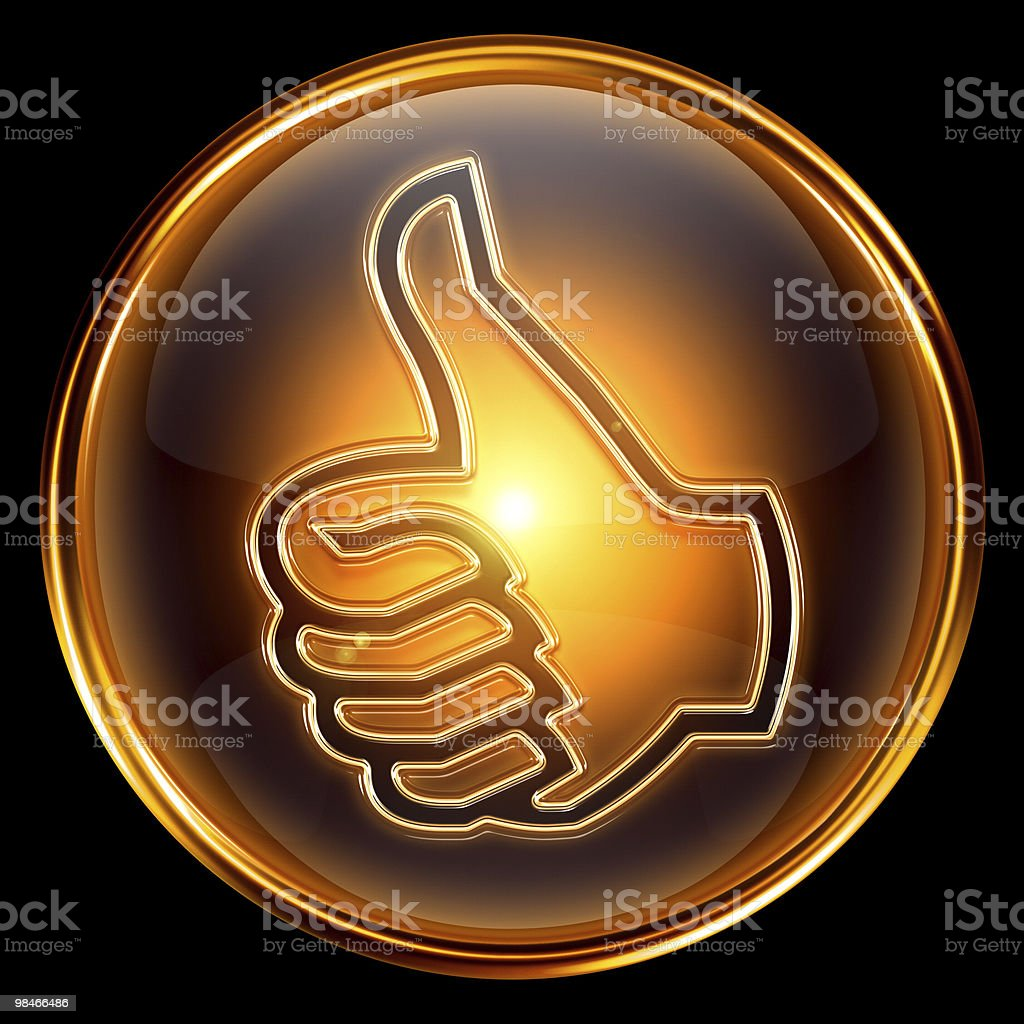 thumb up icon golden, isolated on black background royalty-free thumb up icon golden isolated on black background stock vector art & more images of agreement