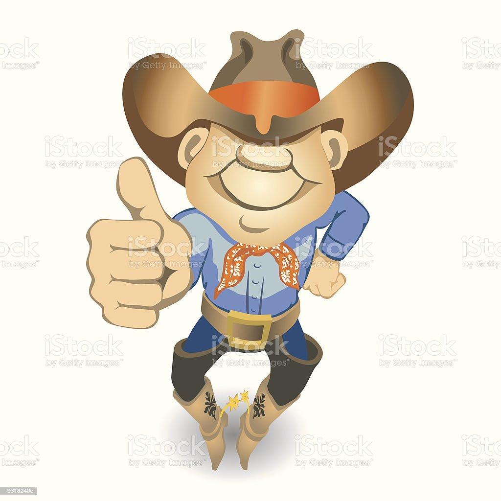 Thumbs Up Cowboy (vector + XXL jpg in ZIP folder) royalty-free stock vector art