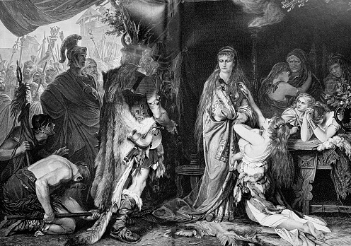Thusnelda is handed over by her father to the Roman commander Germanicus.