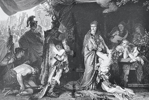 Thusnelda is handed over to the Roman general Germanicus by her father Segest