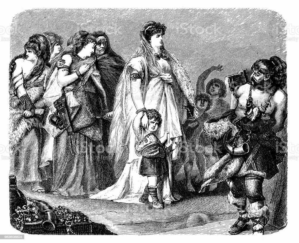 Thusnelda, the wife of Arminius at the Triumph of Germanicus