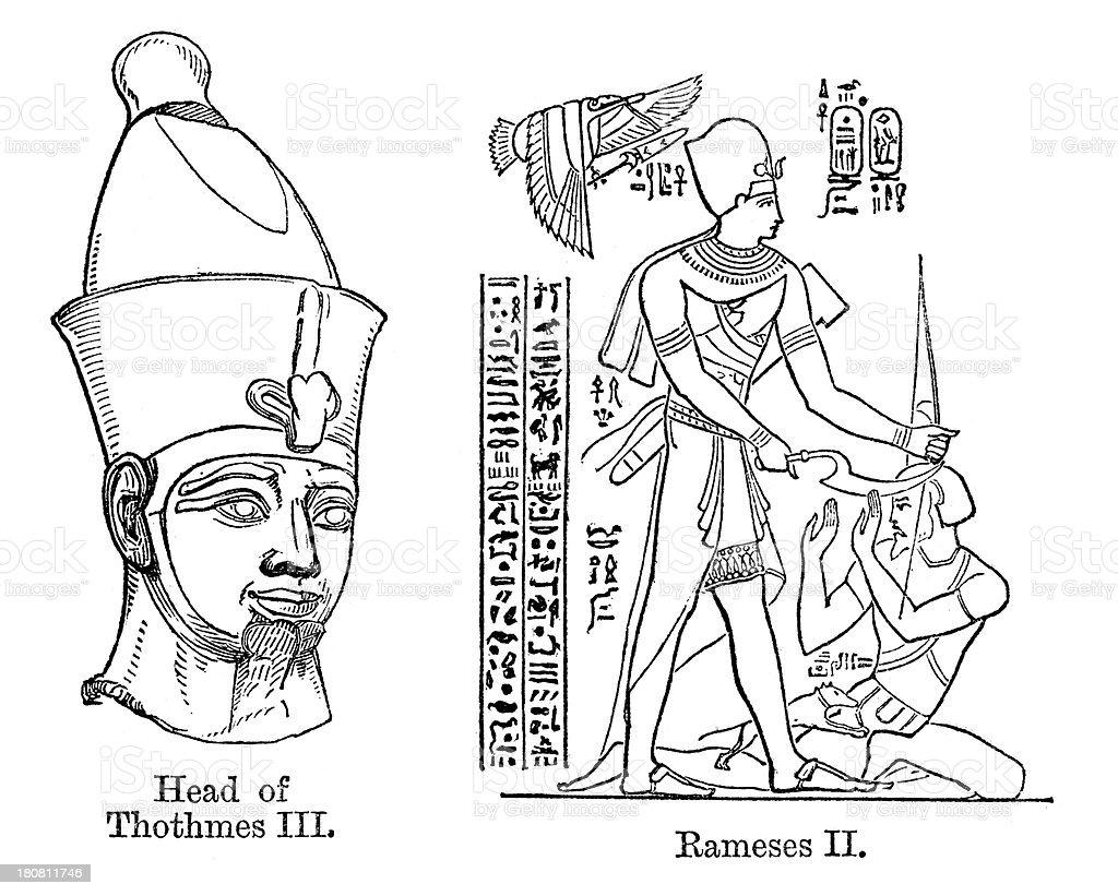 Thutmose III and Ramesses II royalty-free stock vector art