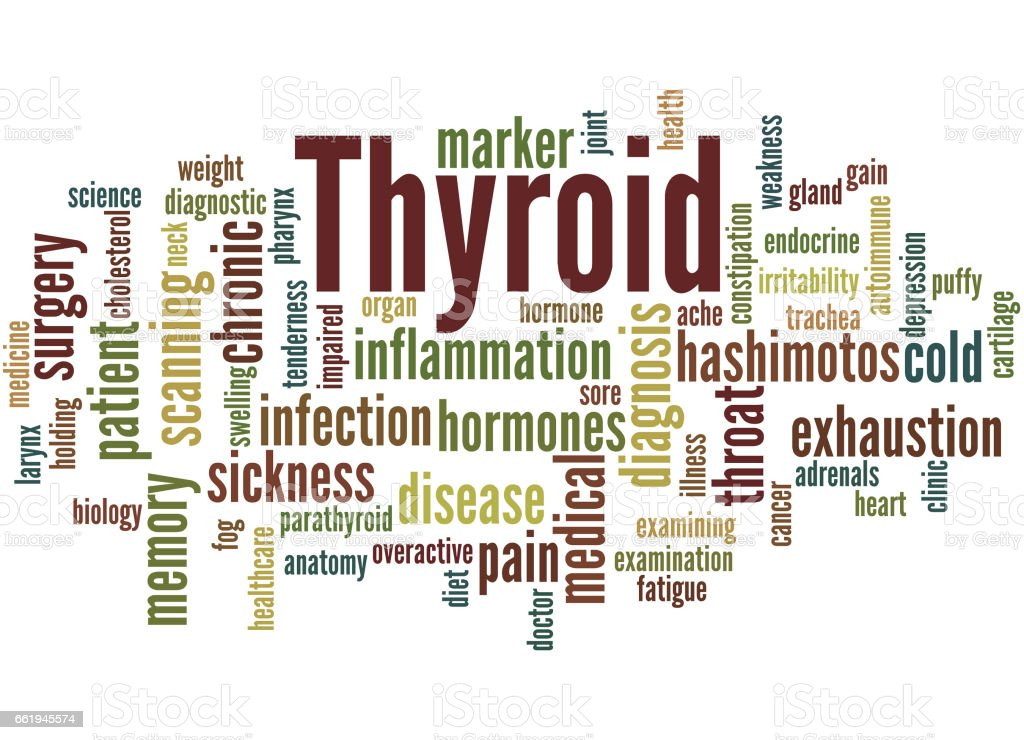 Thyroid, word cloud concept 3 vector art illustration