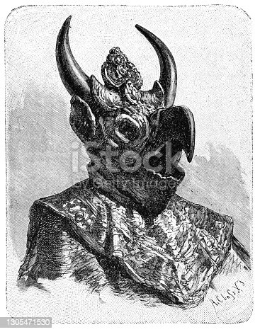 istock Tibetan Lama with Mask of God. Tibet. History and Culture of Asia. Antique Vintage Illustration. 19th Century 1305471530