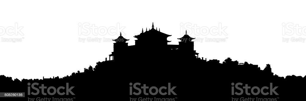 tibetan monastery silhouette vector art illustration