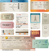 World traveller tickets collection - vector. Illustration was made in Adobe Illustrator CS 3. EPS 10. File contains transparences!