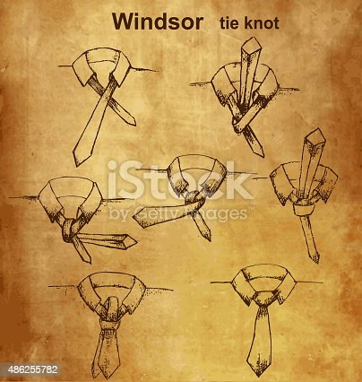 Tie and knot vintage instruction, Windsor tie knot